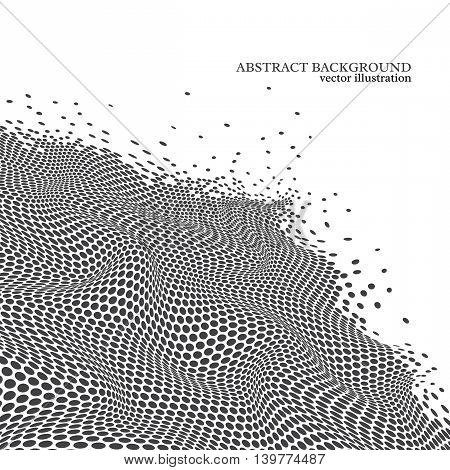 Abstract dotted wave background 3d effect. White and black colors. Technology digital background. Vector illustration.