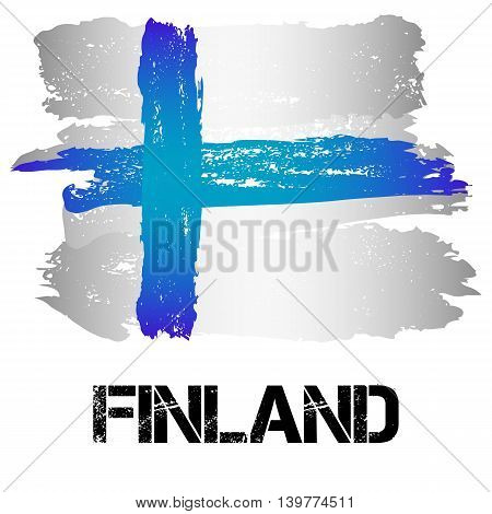 Flag of Finland from brush strokes in grunge style isolated on white background. Country in Northern Europe. Vector illustration