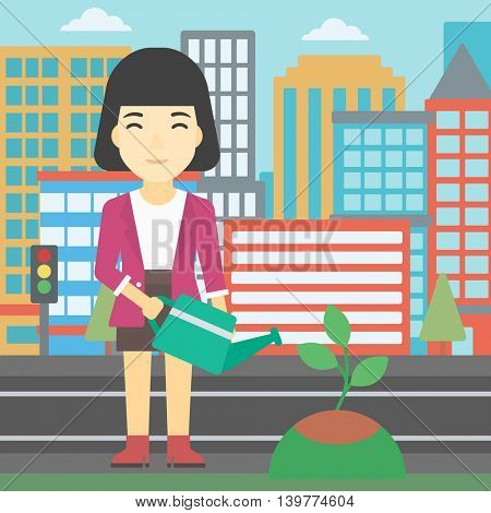 An asian young woman watering a tree on a city background. Eco-friendly woman takes care of the environment. Vector flat design illustration. Square layout.