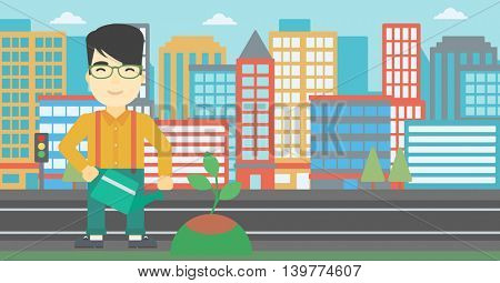An asian young man watering a tree on a city background. Eco-friendly man takes care of the environment. Vector flat design illustration. Horizontal layout.
