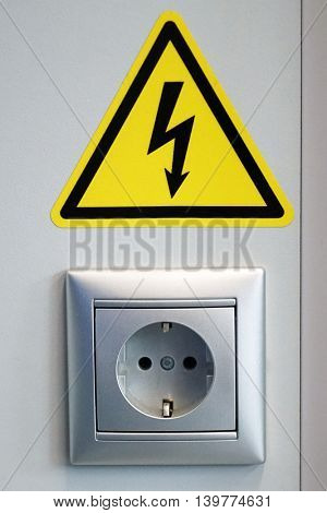 The power socket and electrical sign electrical hazards.