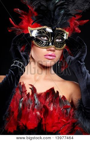 young sexy woman in violet party half mask. may be use for fashion makeup concept