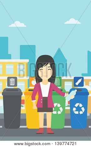 An asian woman throwing away plastic bottle. Woman standing near four bins in the city and throwing away plastic bottle in an appropriate bin. Vector flat design illustration. Vertical layout.
