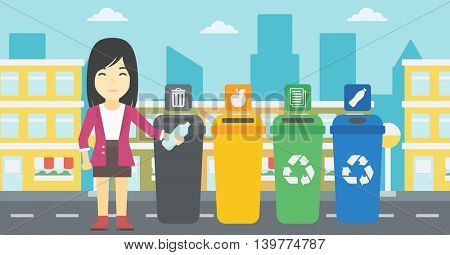 An asian woman throwing away plastic bottle. Woman standing near four bins in the city and throwing away plastic bottle in an appropriate bin. Vector flat design illustration. Horizontal layout.