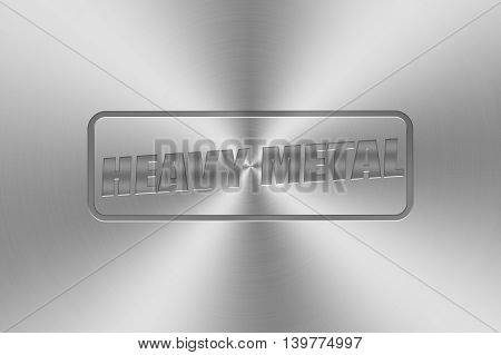 heavy metal word inlay on chrome aluminium texture for metal music theme. 3d illustration