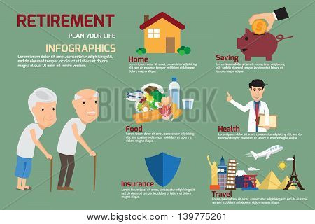 Retirement infographic with old people and icon elements. retirement man and women plan his life to retire. vector illustration.
