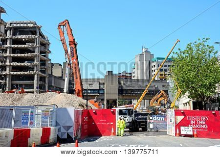 BIRMINGHAM, UNITED KINGDOM - JUNE 6, 2016 - Demolition site for the old Birmingham Central Library Birmingham England UK Western Europe, June 6, 2016.