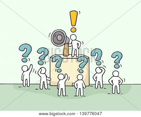 Sketch crowd of little people with questions. Doodle cute miniature with leader on the tribune and megaphone. Hand drawn cartoon vector illustration for business design.