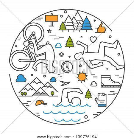 Linear concept for triathlon. Vector line round banner triathlon for web. Open path.