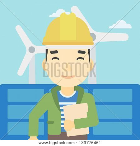 An asian worker of solar power plant and wind farm. Man with folder on background of solar panel and wind turbine. Green energy concept. Vector flat design illustration. Square layout.