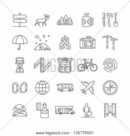 Line icons set of camping hiking and tourism. Vector linear symbol