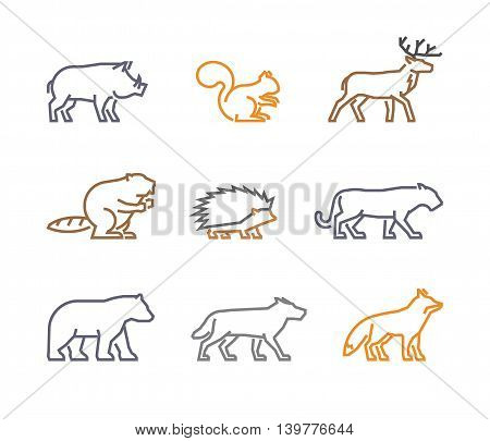 Vector set figures of wild animals isolated on white background. Line silhouettes boar squirrels deer beaver fox puma wolf hedgehog and bear.