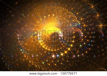 Fiery swirls. Abstract colorful sparks on black background. Fantasy fractal texture in orange and yellow colors. Digital art. 3D rendering.