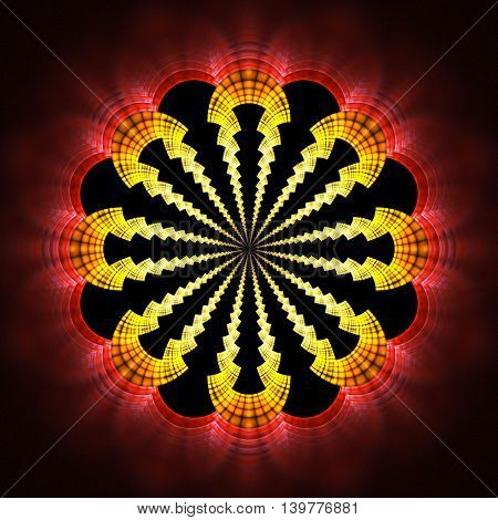 Abstract flower mandala on black background. Symmetrical pattern in red orange and yellow colors. Fantasy fractal design for posters postcards wallpapers or t-shirts. Digital art. 3D rendering.