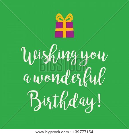 Cute Happy Birthday greeting card with a handwritten text and an purple wrapped birthday gift with orange ribbon bow on a green background.