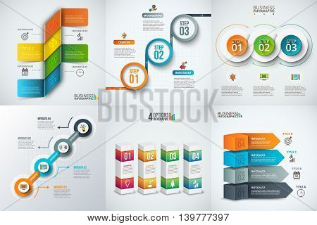Infographics template set. Vector illustration. Can be used for workflow layout, banner, diagram, number options and timeline elements. Data visualization.