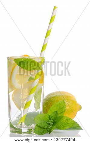 Summer lemonade with Lemon and mint isolated on white background