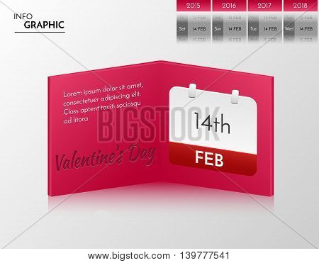 Purple vector banner for you own artwork. Infographic book with valentine's day design.