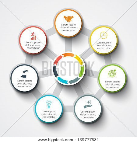 Vector infographic design template. Business concept with 7 options, parts, steps or processes. Can be used for workflow layout, diagram, number options, web design. Data visualization.