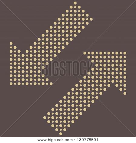 Fine vector dotted diagonal arrows. Elements for web, infographic and diagrams. Brown and golden colors