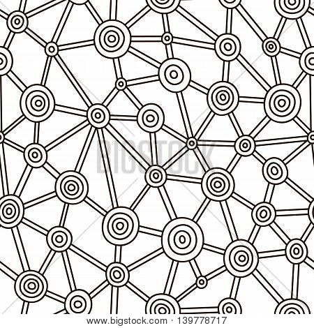Black and white  hand-drawn abstract doodles pattern.