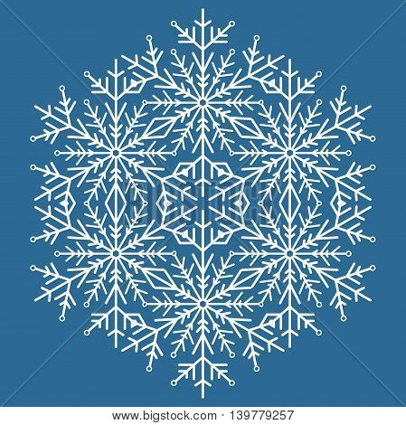 Round vector snowflake. Abstract winter ornament. Blue and white colors