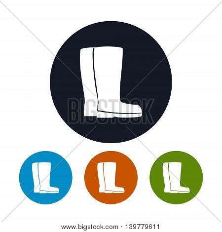 Icon Working Rubber Boots, Four Types of Round Icons Work Shoes for Working in the Garden, on the Farm, for Fishing, for Walking in the Forest, for Walk through the Puddles in the Rain, Vector