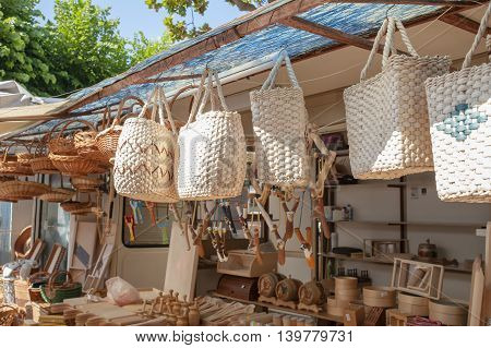 Handmade straw handbags on market sale summer tradition shop