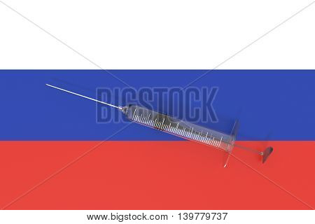 Doping: Russian flag with a syringe 3d illustration