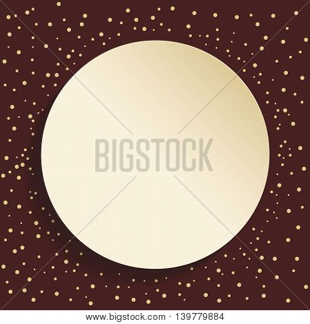 Nice vector frame with dots and volume circle. Fine greeting card. Brown and golden colors