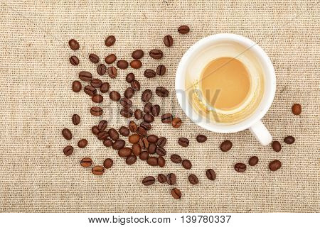 Latte Cappuccino Cup And Coffee Beans On Canvas