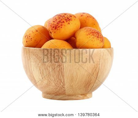 Ripe Fresh Apricots In Wooden Bowl Over White