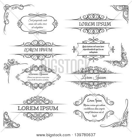 Vintage ornate frames. Decoration vector scroll elements