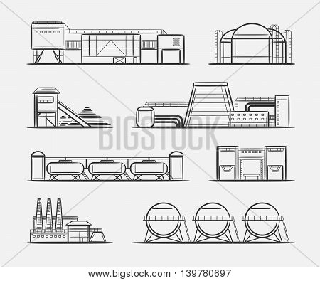 Factories and plants drawing set. Vector engraving industrial buildings