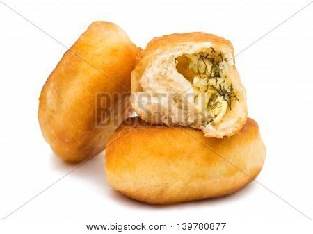 fried pies cooking on a white background