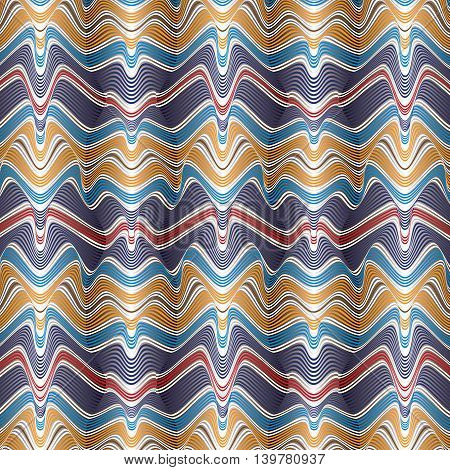 Vector abstract colorful 3d effect wavy stripes background.