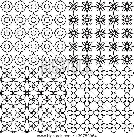 Vector set of seamless backgrounds in black and white. Geometric ornament pattern with repeating elements.