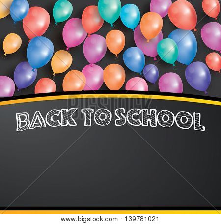 Back to school card with flying balloons and copy space. Poster with black chalk board.