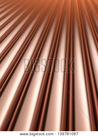 Stack stainless metal shiny copper pipes. 3D rendering background.