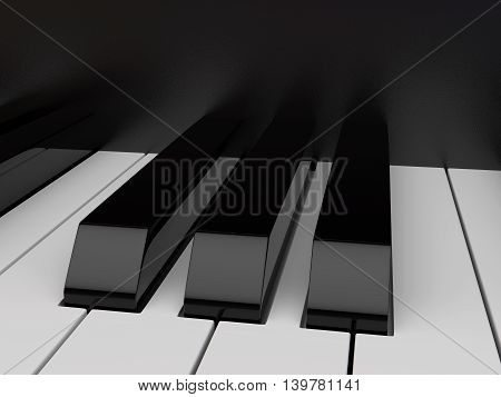 Close-up view black and white piano keyboard.