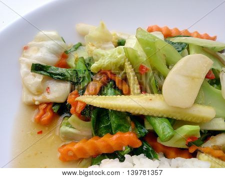 Vegetarian Stir Fry With Thai Jasmine Rice On White Dish, Healthy Food
