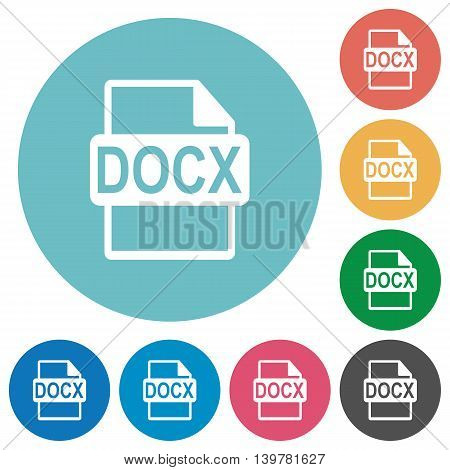 Flat DOCX file format icon set on round color background.