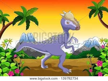 funny Dinosaur Stegosaurus cartoon in the jungle