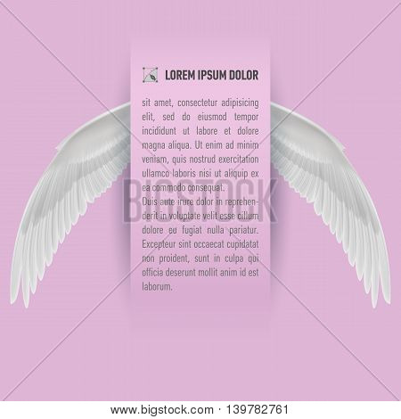 Sheet of paper with text with white wings on both sides