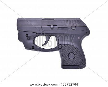 Small Handgun with laser guns on white background.