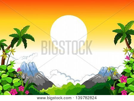 beauty landscape with sunset background for you design, vector
