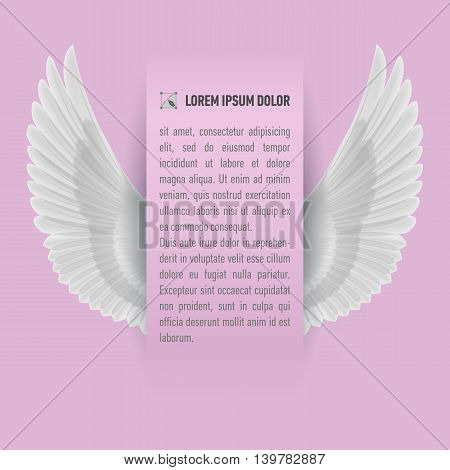 Sheet of paper with text with white wings up on both sides