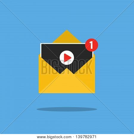 Concept of sharing movie. Video notification in letter on blue background. Flat design, vector illustration.