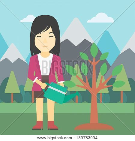An asian woman watering a tree on the background with mountain. Young friendly woman takes care of the environment. Vector flat design illustration. Square layout.