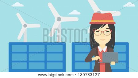 An asian female worker of solar power plant and wind farm. Woman working on laptop on a background of solar power plant and wind turbines. Vector flat design illustration. Horizontal layout.